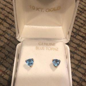 Everlasting Gold  Blue Topaz 10k  Gold Earrings